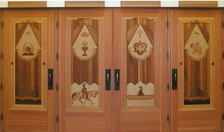 Trinity United Methodist Church intarsia doors